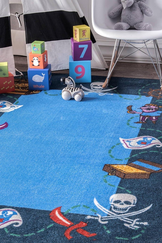 nuLOOM Pirate Playtime Kids Rug Blue 3 3 x 5