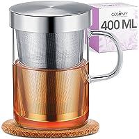Taza de Te con Filtro y Tapa - Con Posavasos de Corcho - Vaso de Cristal de Borosilicato - Taza Grande de 400 ml