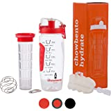 chowbento Motivational Water Bottle 3 in 1 with Fruit Infuser, Time Markings & Protein Shaker Ball - 1000ml BPA Free Safe Tritan Material - Also includes cleaning brush, carry hook and FREE eBook!
