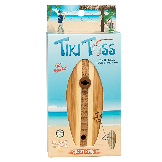 Tiki Toss Hook and Ring Toss Game Short Board Edition - 100% Bamboo Party Game for Indoor or Outdoor Family Fun (All Parts Included)