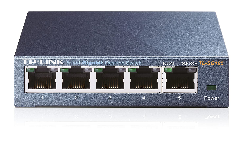 TP-Link TL-SG105 Switch Desktop 5 Porte RJ45 Gigabit, 10/100/1000 Mbps, Plug & Play, Struttura in Acciaio