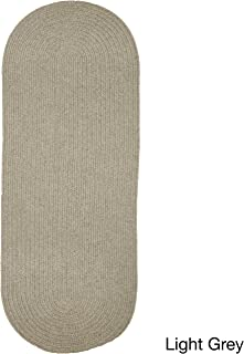product image for Rhody Rug Woolux Wool Runner Braided Rug (2' x 6') - 2' x 6' Runner Grey
