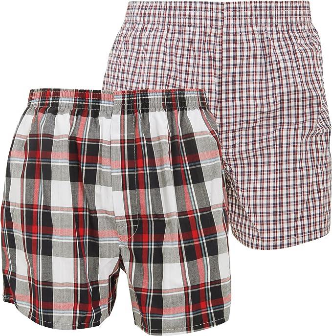Floso - Calzoncillos Boxers de Tela 100% algodón (Pack de 2) (Grande (L)) (Rojo/Azul Marino): Amazon.es: Ropa y accesorios