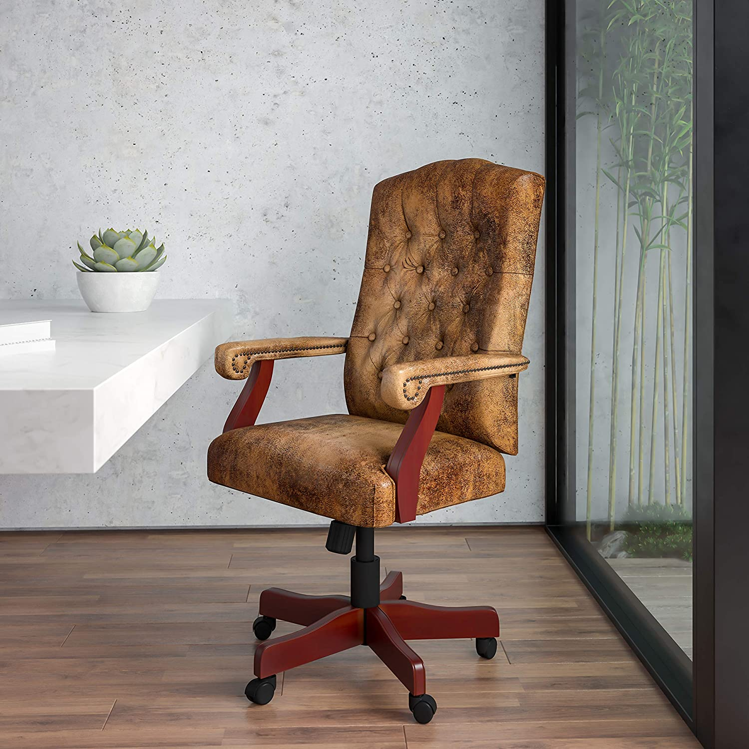BizChair Bomber Brown Classic Executive Swivel Office Chair with Arms