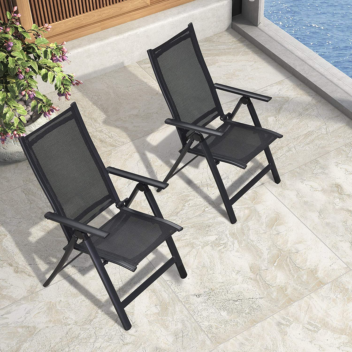 PURPLE LEAF Outdoor Patio Folding Dining Chairs Set of 2, Outdoor Reclining Chairs Camping Chair with Textilene Fabric Seating, 5 Levels Adjustable High Backrest Portable Chairs, Black