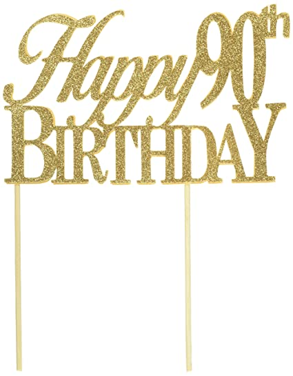Image Unavailable Not Available For Color All About Details Gold Happy 90th Birthday Cake Topper