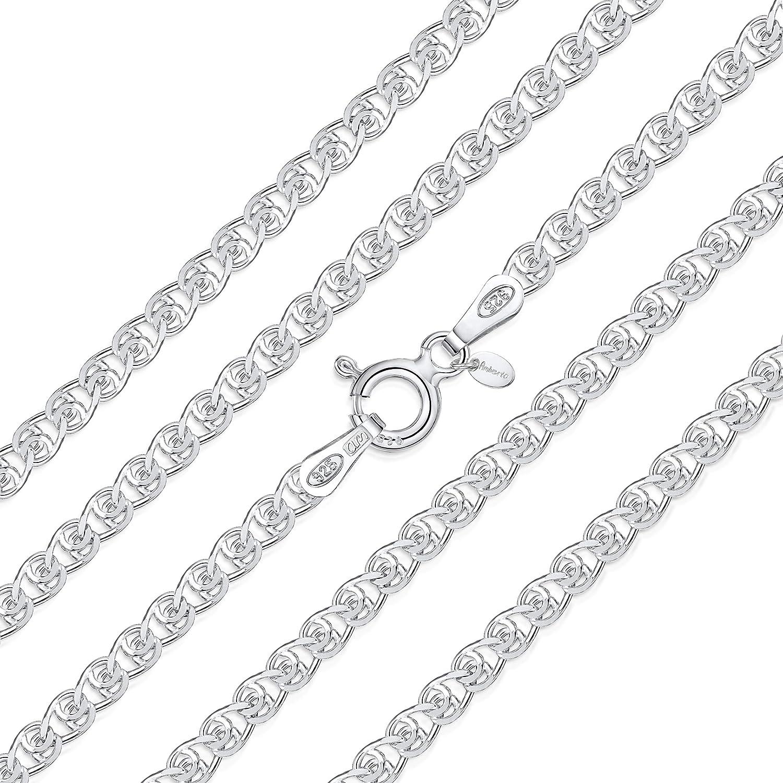 Maille C/œur Longueur 40 45 50 55 60 cm Amberta/® Bijoux Collier Cha/îne Argent 925//1000 Largeur 2.3 mm