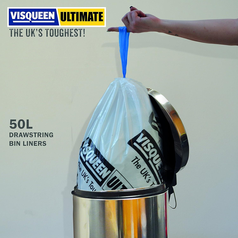 Visqueen Ultimate Drawstring Swing Bin Liner 50L 40 Pack: Amazon.co ...