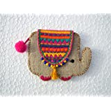 V Living Acrylic, Brass, Felt and Linen Handmade Elephant Coin Bag, 4X3-inches (Multicolour)