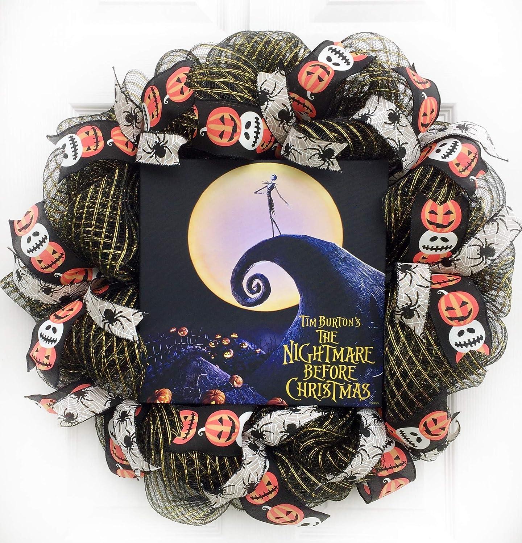 Handpainted Christmas Card Beetlejuice Sandworm Christmas Wreath Card Tim Burton Nightmare Before Christmas Jack Skellington Xmas Card