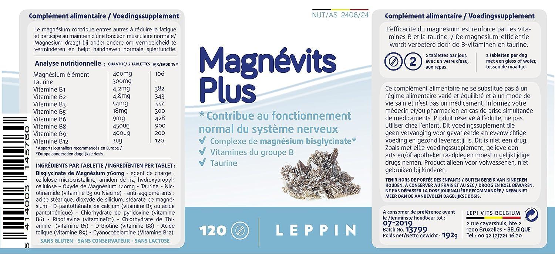 Leppin - magnévits Plus 120 Pastillas - Complejo de bisglycinate de magnesio 900 mg + Vitamines B + Taurina - Alta biodisponibilité - Suplemento naturales: ...