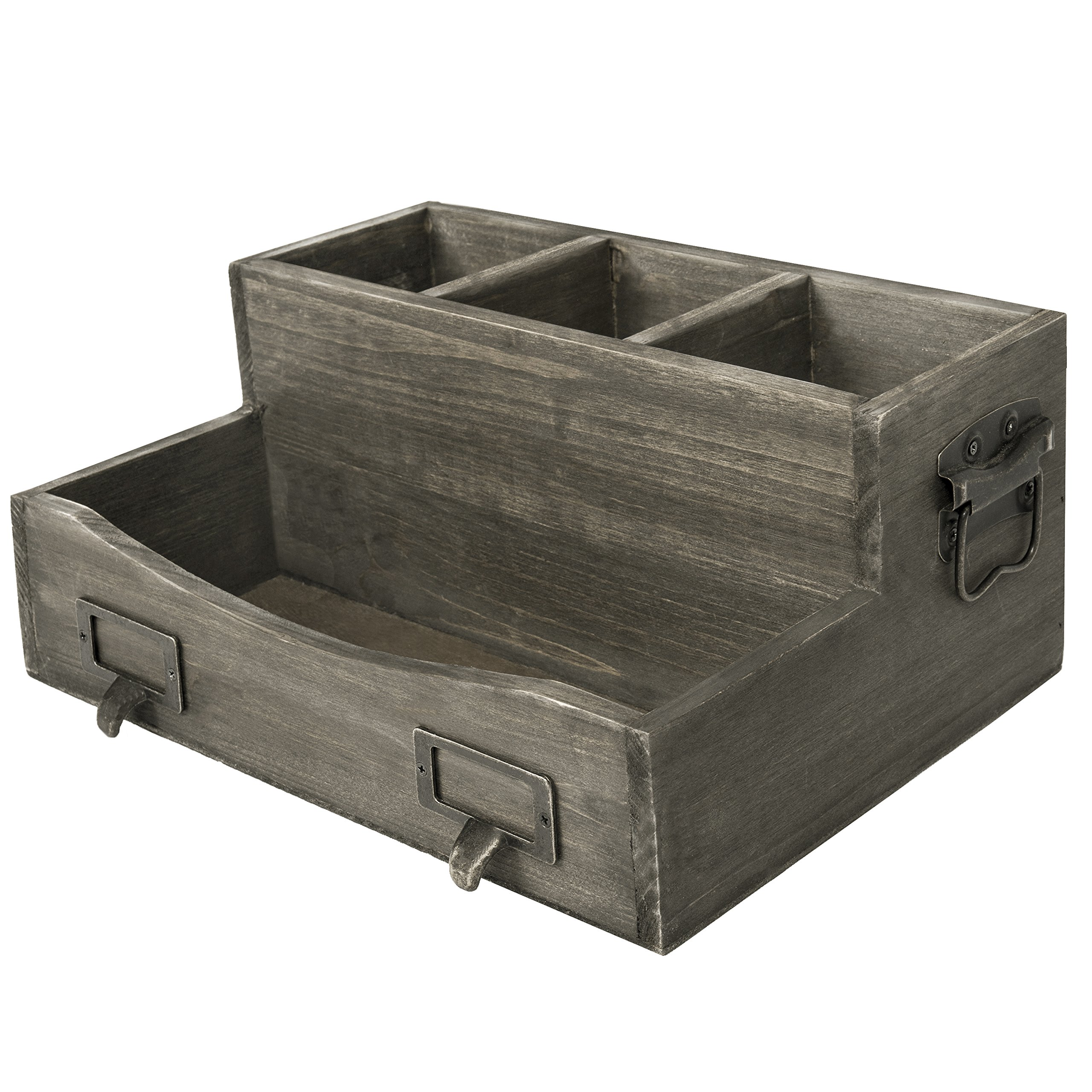 Barnwood Brown Desktop Magazine & Office Supplies Organizer with Metal Drawer-Pull Labels & Side Handles by MyGift (Image #2)