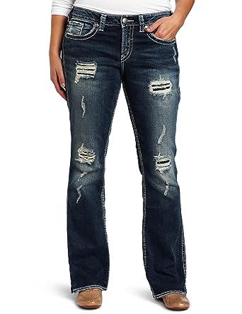 Amazon.com: Silver Jeans Women's Plus-Size Frances 18 Ripped Jean ...