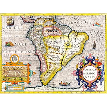 Amazon.de: Wee Blue Coo LTD Map Antique South America Brazil ...