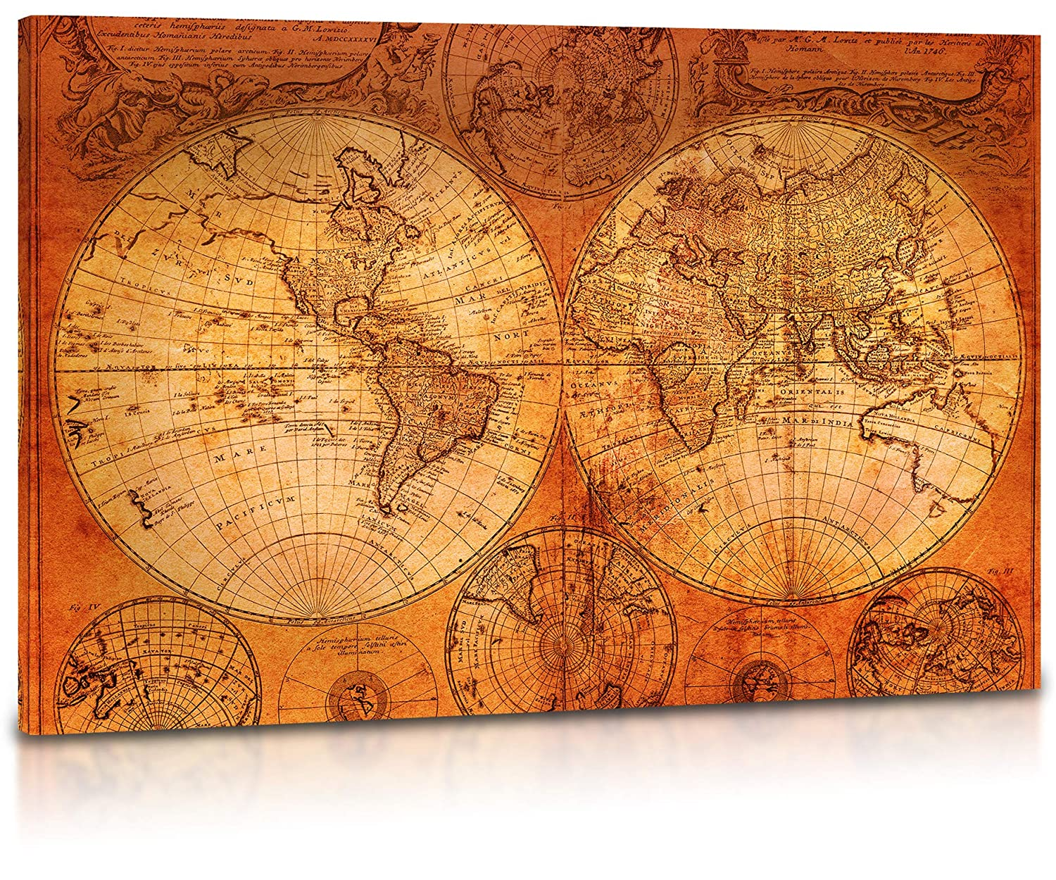 World Map Canvas Wall Art - Vintage Old World Map of the World, Retro Wall  Art for Living Room, Home, Office Decor - Premium Quality Large Stretched  ...