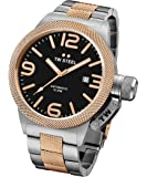 TW Steel CB135 Men's Canteen Bracelet Black Dial Two Tone Rose Gold Steel Automatic Watch