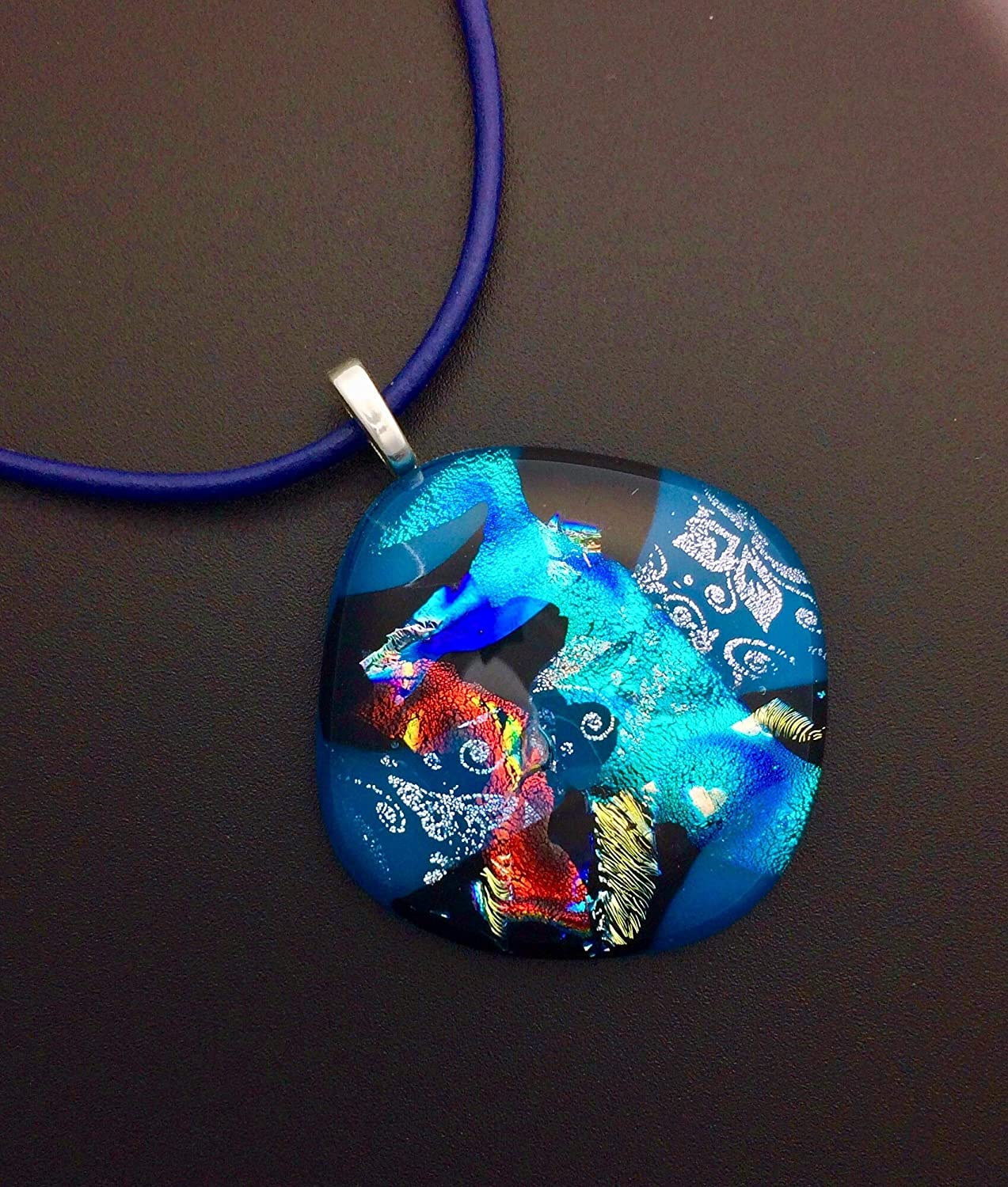 Glass Jewelry Fused Art Dichroic Pendant Necklace T26 Simple Tree Scene