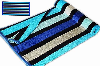 Rayas azules de color plateado y dorado JUMBO tamaño EXTRA grande toalla de playa de baño