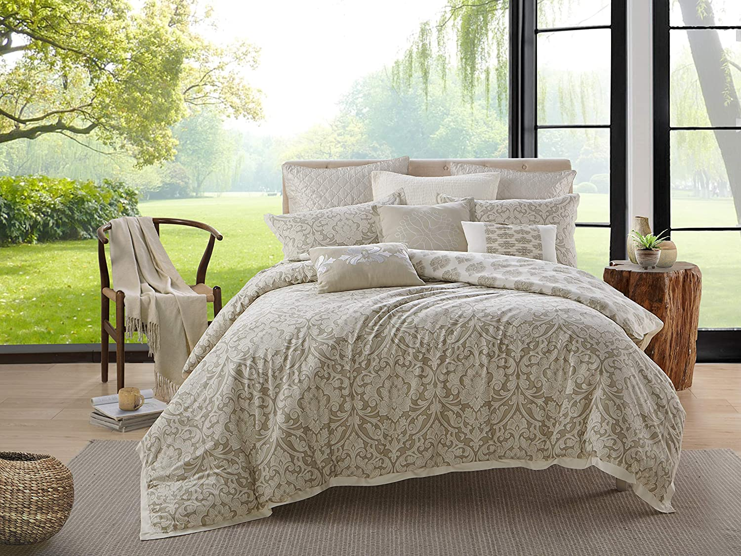 Ellen Tracy 100% Print Cotton Duvet & Shams 3-pc Bedding Set, Luxurious, Comfortable, Breathable, Soft and Durable, with Button Closure - Chandler, King