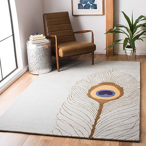 Safavieh Soho Collection SOH787B Handmade Grey and Brown Premium Wool Area Rug 5 x 8