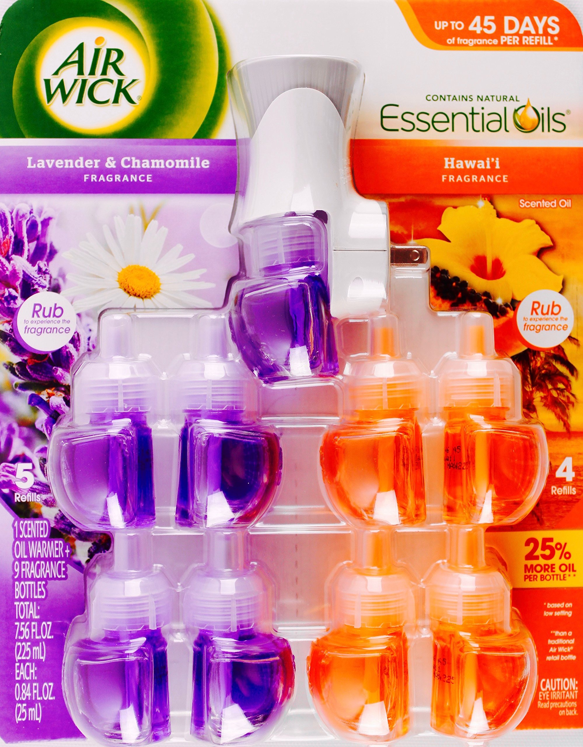 Air Wick Essential Oils 1 Warmer + 9 Bottles, Lavender Chamomile & Hawaii Scent