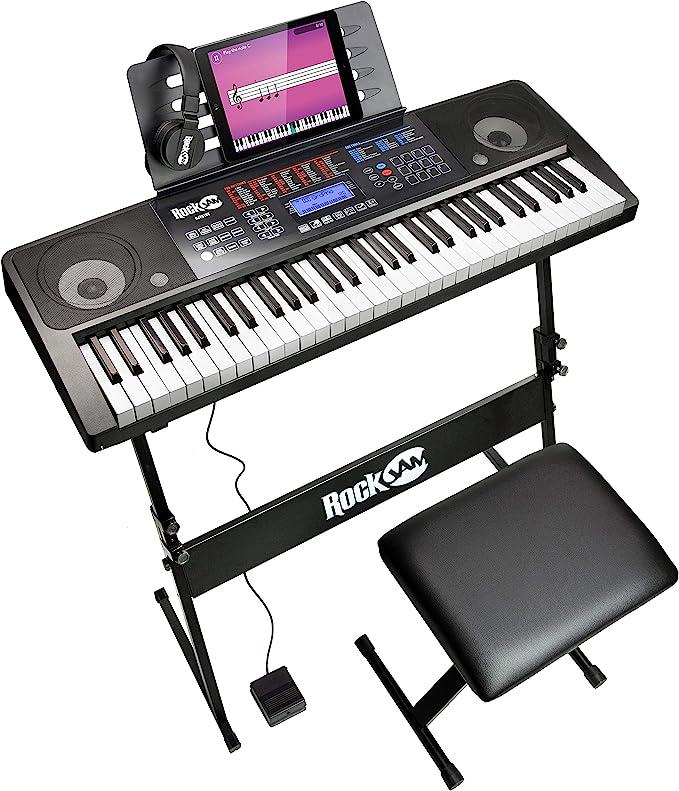 RockJam Kit de 61 Teclado de piano digital, Banco Soporte de teclado, Auriculares, Pedal de sostenido y simplemente Aplicación de piano
