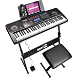 RockJam Keyboard Stand, Bench, Headphones, Sustain Pedal, Keynote Stickers & Simply Piano app, 61 Key Superkit (RJ761-SK…