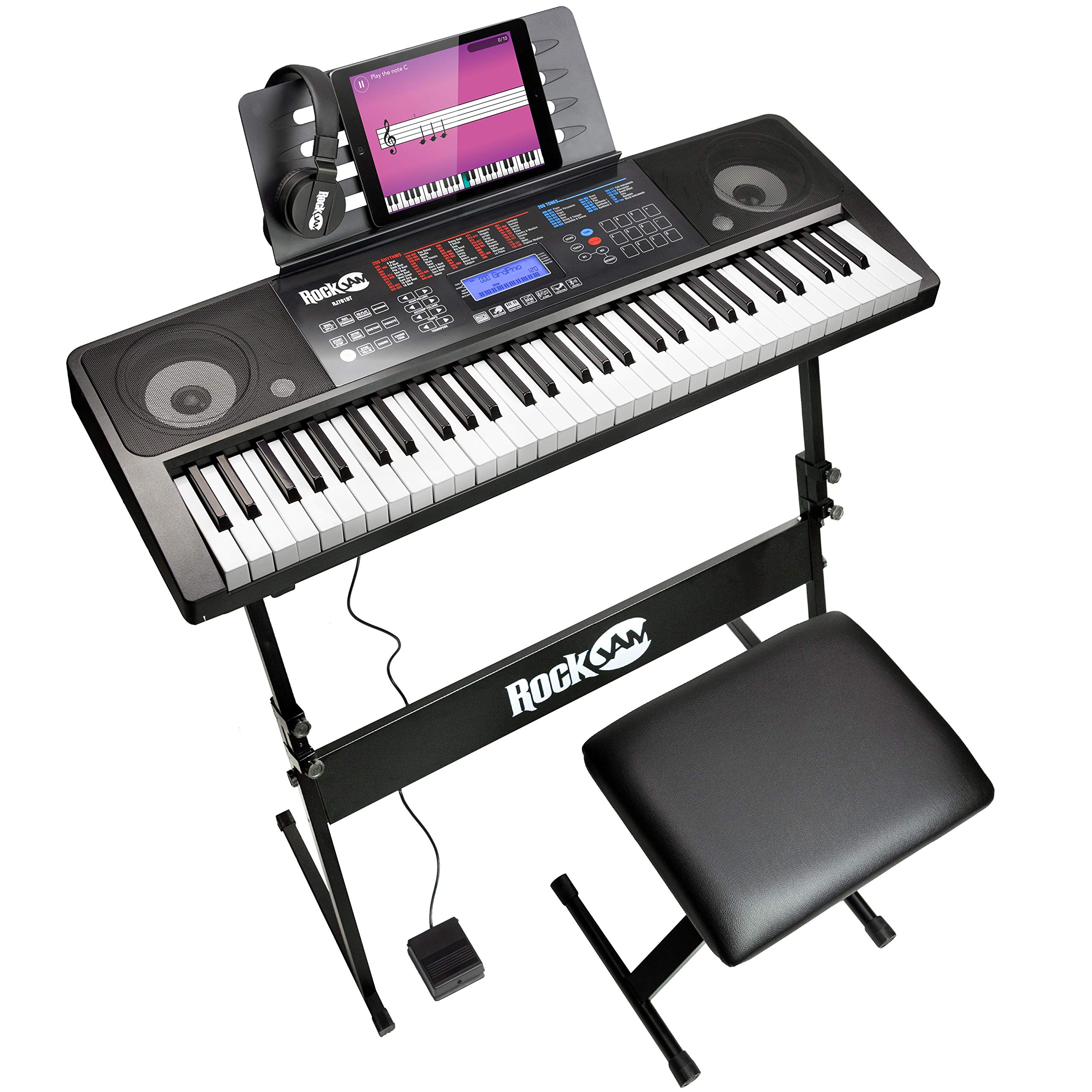 RockJam RJ761 61 Key Electronic Interactive Teaching Piano Keyboard with Stand, Stool, Sustain Pedal and Headphones (RJ761-SK) by RockJam