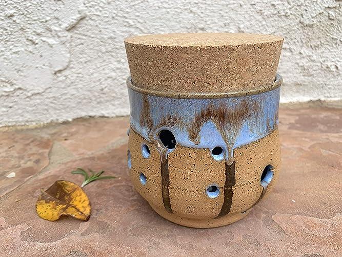 Amazon com: Blue and Brown Garlic Keeper Jar, handmade