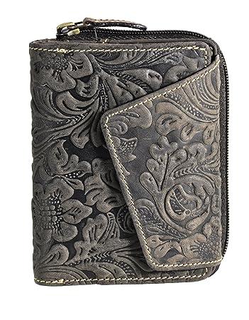 257b2a329ac0b feminine echt Leder Damen Geldbörse mit Außenriegel ölgeprägtes  Vollrindleder Jockey Club florale Motive