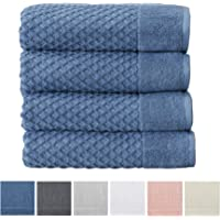 Great Bay Home 100% Cotton Quick-Dry Bath Towel Set (30 x 52 inches) Highly Absorbent, Textured Luxury Bath Towels. Grayson Collection (Set of 4, Blue)