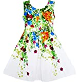 Sunny Fashion Girls Dress Elegant Princess Blooming Vine Ivy Flower Leaves