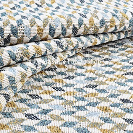 Exclusive Fabric New Yellow Blue White Small Geometric Pattern Soft Woven Jacquard Chenille Upholstery Fabric Perfect For Upholstery & Curtains (10cm