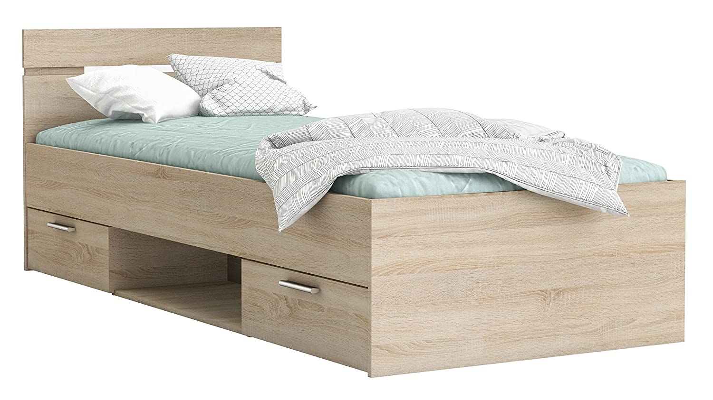 Funktionsbett 90  200 cm Sonoma Eiche mit mit mit 2 Roll-Bettkästen Jugendzimmer Kinderzimmer Kinderbett Jugendbett Jugendliege Bettliege Bett abbbc5