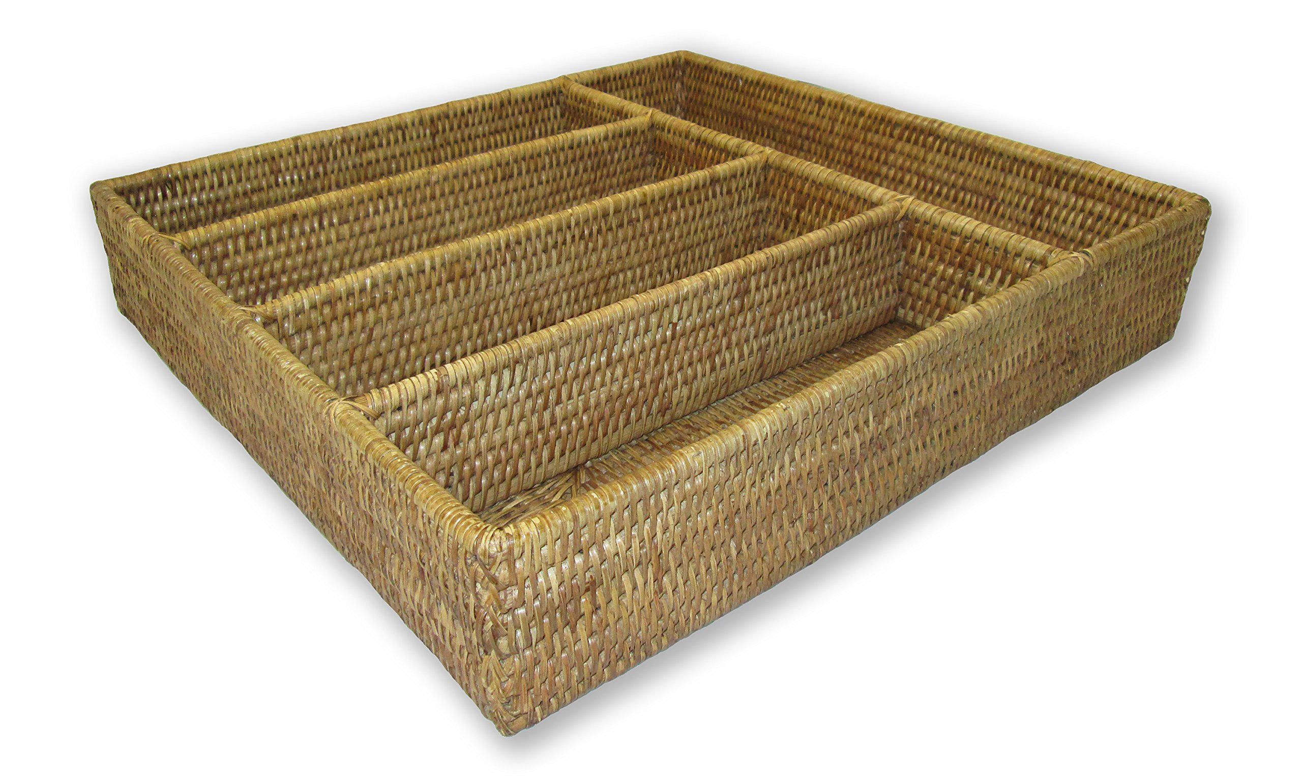Artifacts Trading Company Rattan 5 Section Cutlery Tray, 16'' L x 15'' W x 3'' H by Artifacts Trading Company (Image #1)