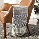 Amazon Brand – Rivet Modern Diamond Pattern Fringe Throw Blanket - 80 x 60 Inch, White