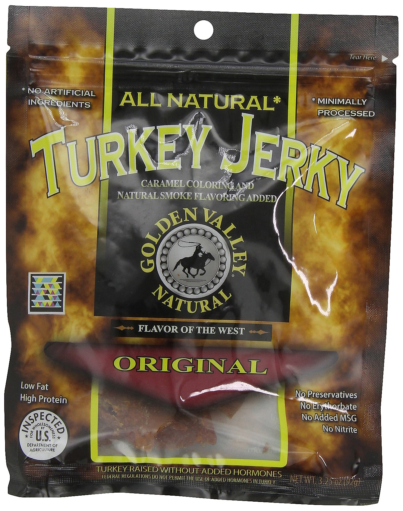 Golden Valley Natural Turkey Jerky, Original, 3.25 -Ounce Pouches (Pack of 8)