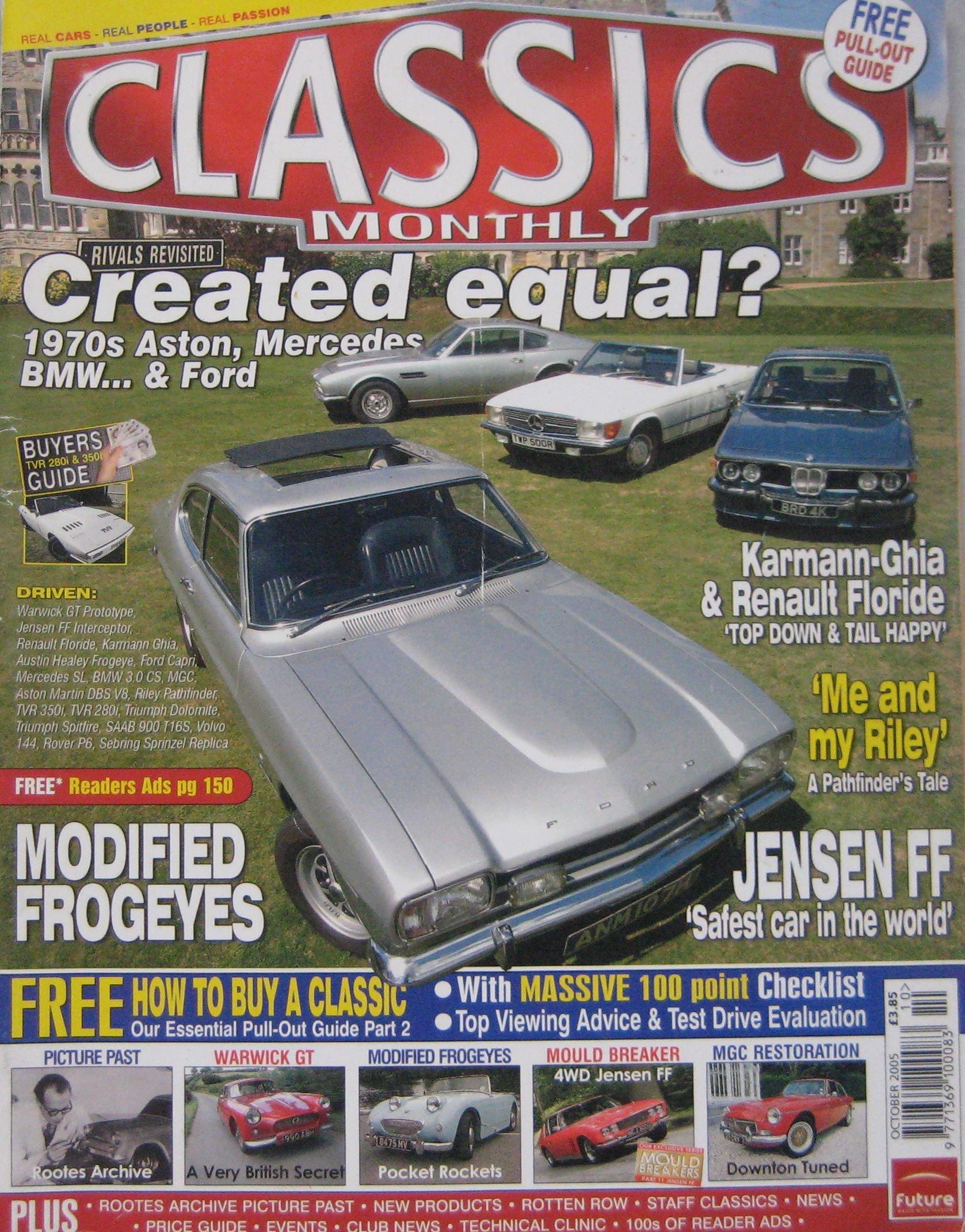 Classics magazine 10 2005 featuring Aston Martin Ford Capri