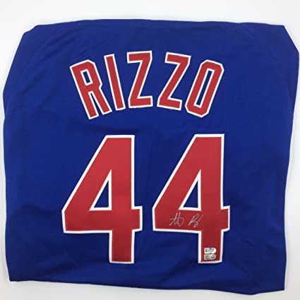 100% authentic 2c4cc 3ba67 Anthony Rizzo Autographed Blue Cubs Jersey at Amazon's ...