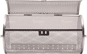 Rolling Grill Basket - Portable Vegetable Grilling Basket - Large & Spacious Grilling Tool Accessories to Grill Veggies, Chicken, Shrimp, Kabob & Meat Steak - Compatible with Outdoor BBQ Grill