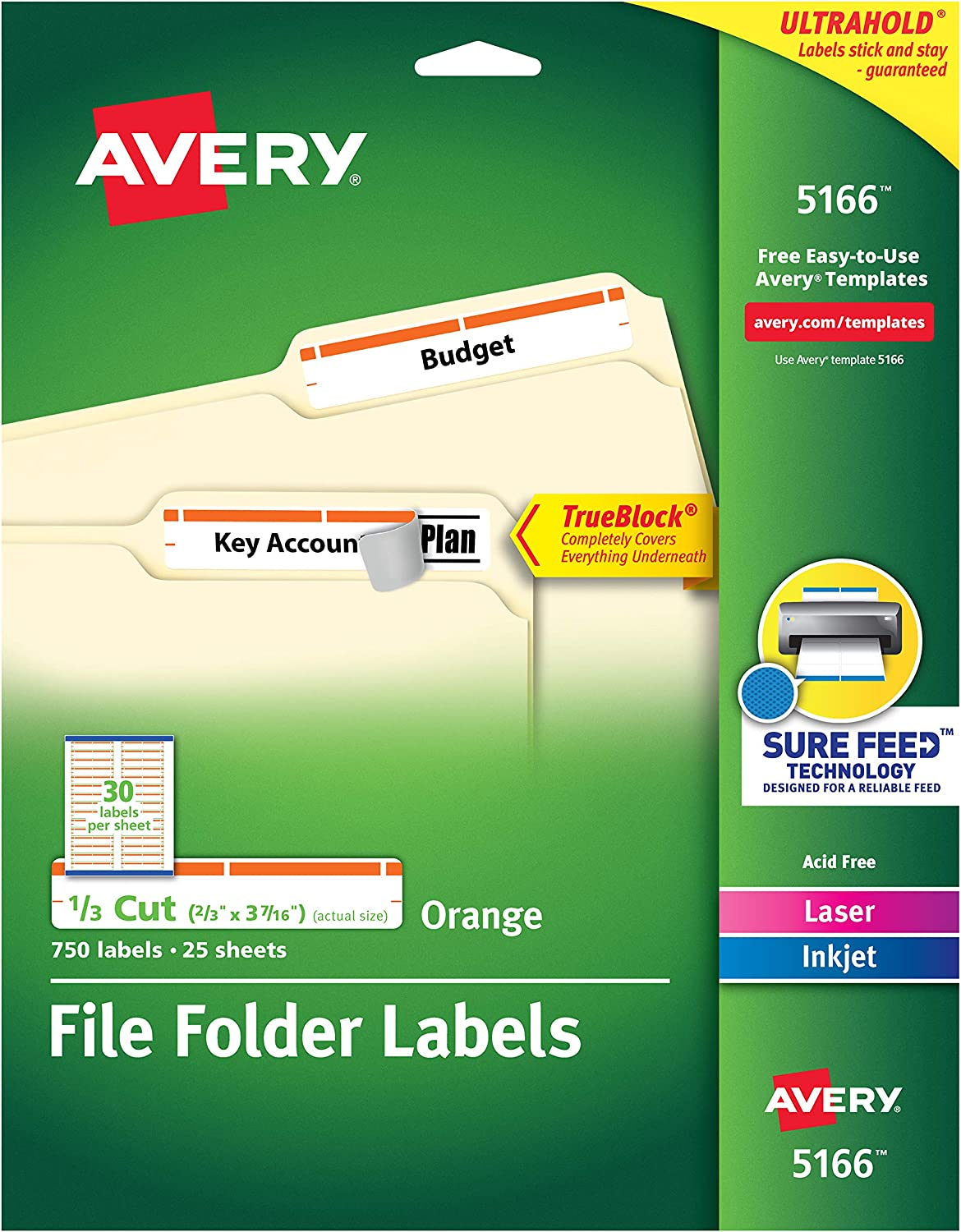 AVERY 5166 Permanent File Folder Labels, TrueBlock, Inkjet/Laser, Orange Border, Pack of 750