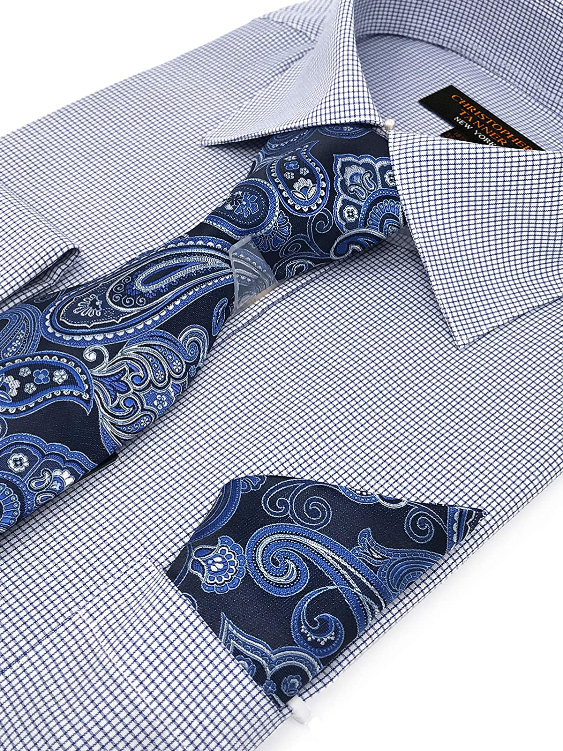 Christopher Tanner Mens Regular Fit Dress Shirts with Tie Hanky Cufflinks Set Combo French Cuffs Checks Plaid Pattern