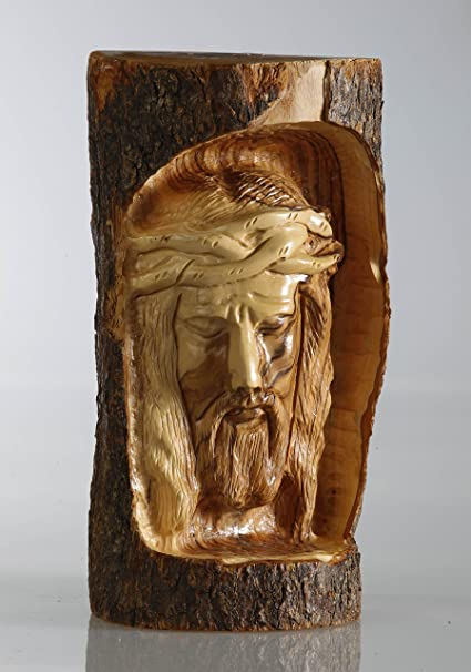 Amazon.com: olive wood jesus face log carving made from authentic
