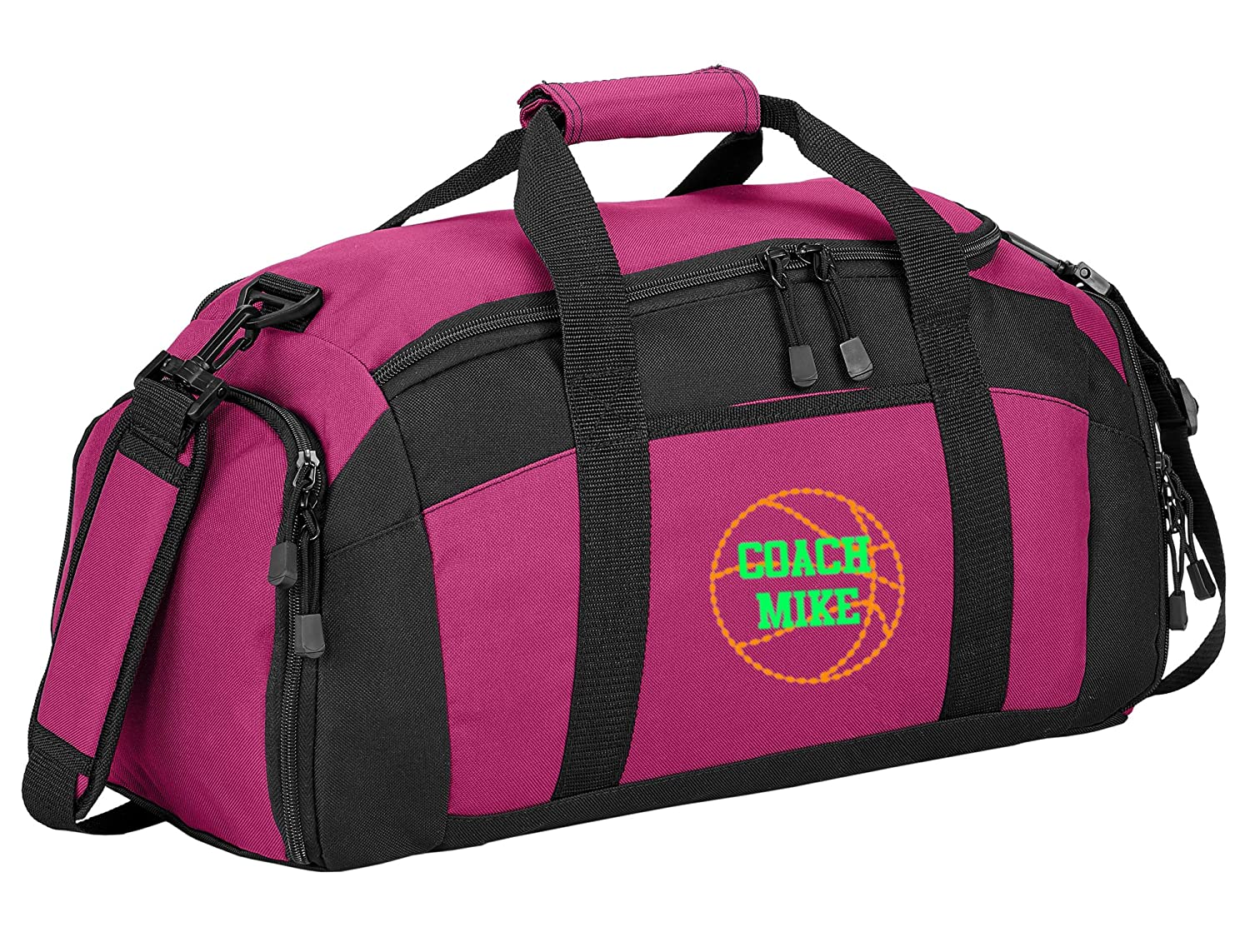 Personalized Basketball Gym Duffel Bag with Custom Text Sports Bag with Customizable Embroidered Monogram Design Tropical Pink