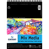 Canson Artist Series Mix Media Paper Pad for Wet or Dry Media, Dual Surface with Fine and Medium Textures, 138 Pound, 11…