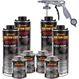 Custom Coat Black 1 Gallon Urethane Spray-On Truck Bed Liner Kit with Spray Gun and Regulator - Easy 3 to 1 Mix Ratio…