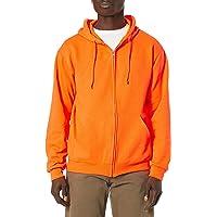 Jerzees Mens Safety Orange Adult Full Zip Hooded Sweatshirt