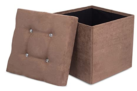 Fabulous Internets Best Folding Storage Ottoman With Bling Upholstered Suede Strong And Sturdy Quick And Easy Assembly Foot Stool Brown Bralicious Painted Fabric Chair Ideas Braliciousco