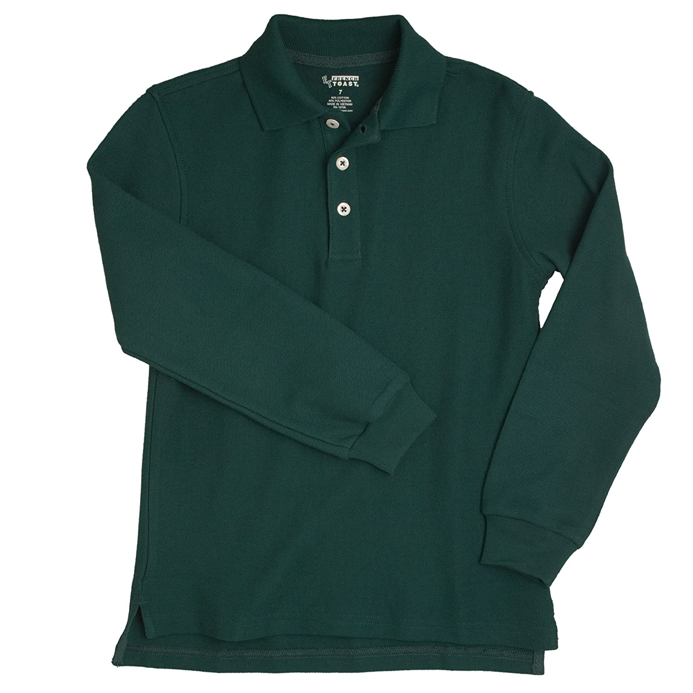 French Toast School Uniform Boys Long Sleeve Pique Polo Shirt, Hunter Green, 20