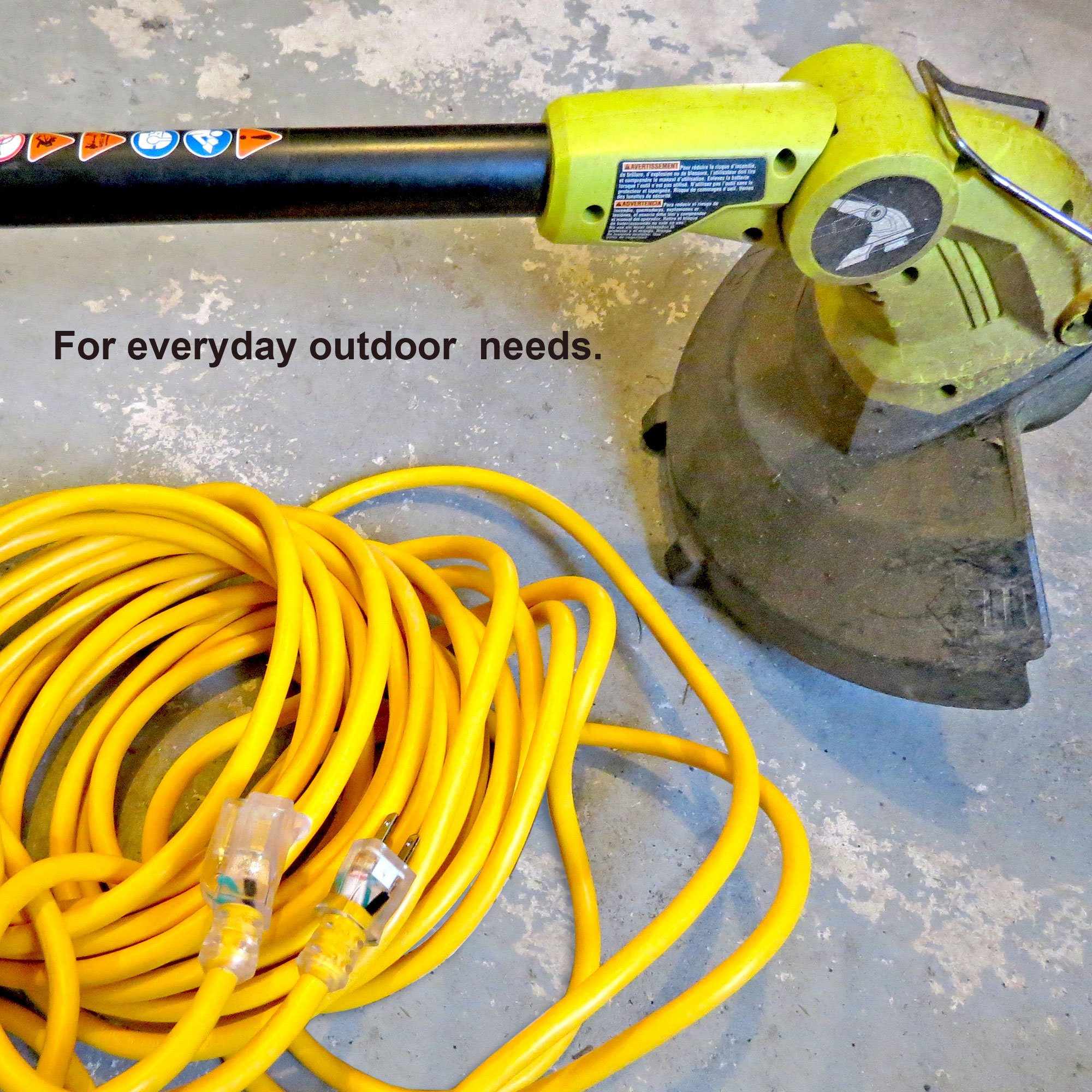 Outdoor Extension Cord - 12/3 SJTW Heavy Duty Yellow 3 Prong Extension Cable - Great for Garden and Major Appliances (100 Foot - Yellow) by Iron Forge Cable (Image #6)